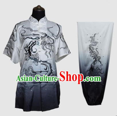 Top Kung Fu Costume Martial Arts Costume Kung Fu Training Plated Buttons Uniform, Gongfu Shaolin Wushu Ink Painting Dragon Tai Ji Clothing for Women for Men