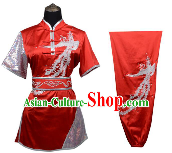 Top Kung Fu Costume Martial Arts Costume Kung Fu Training Plated Buttons Red Uniform, Gongfu Shaolin Wushu Embroidery Phoenix Tai Ji Clothing for Women for Men