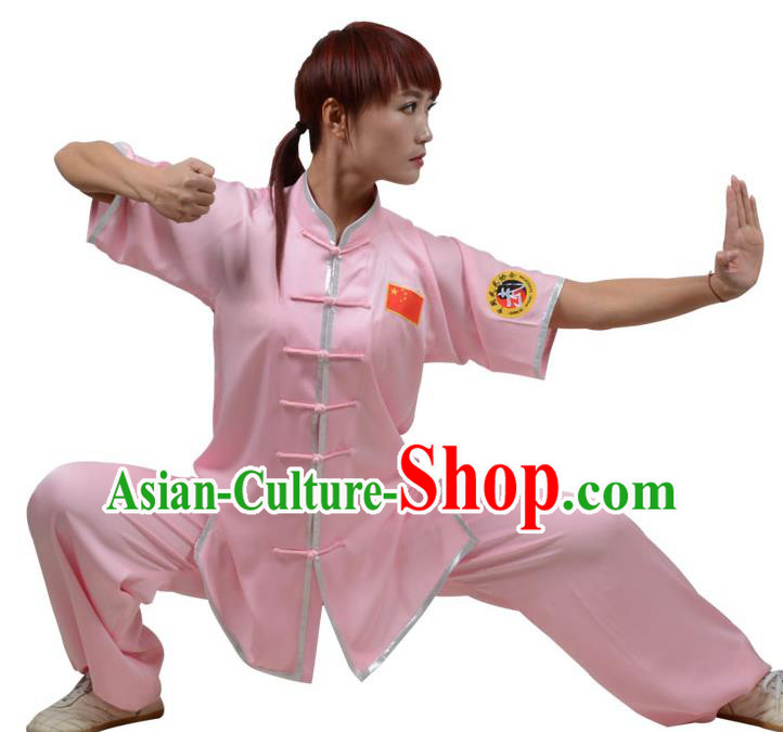 Top Kung Fu Costume Martial Arts Costume Kung Fu Training Plated Buttons Pink Uniform, Gongfu Shaolin Wushu Tai Ji Clothing for Women for Men