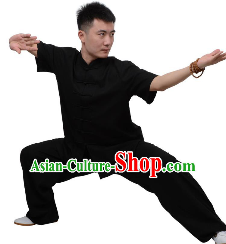 Top Kung Fu Linen Costume Martial Arts Costume Kung Fu Training Short Sleeve Black Uniform, Gongfu Shaolin Wushu Tai Ji Plated Buttons Clothing for Women for Men