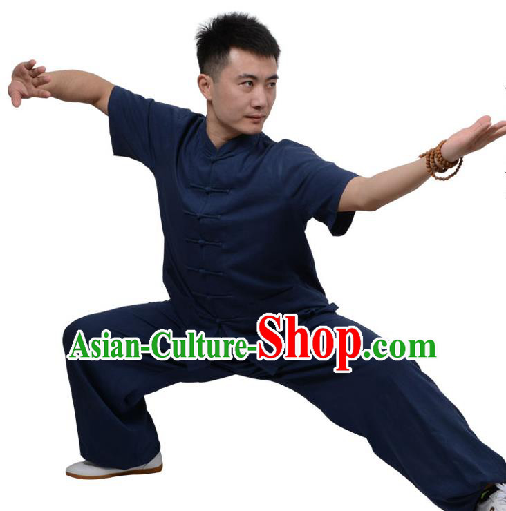 Top Kung Fu Linen Costume Martial Arts Costume Kung Fu Training Short Sleeve Navy Uniform, Gongfu Shaolin Wushu Tai Ji Plated Buttons Clothing for Women for Men