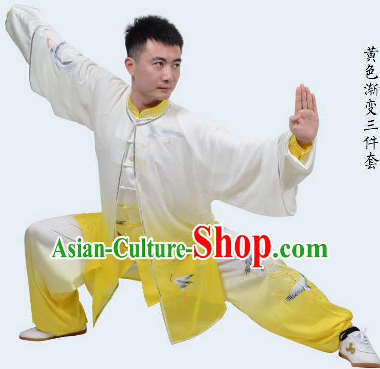 Top Kung Fu Costume Martial Arts Costume Kung Fu Training Gradient Yellow Uniform, Gongfu Shaolin Wushu Embroidery Crane Tai Ji Clothing for Women for Men