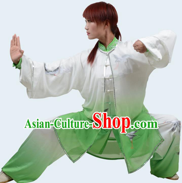 Top Kung Fu Costume Martial Arts Costume Kung Fu Training Gradient Green Uniform, Gongfu Shaolin Wushu Embroidery Crane Tai Ji Clothing for Women for Men
