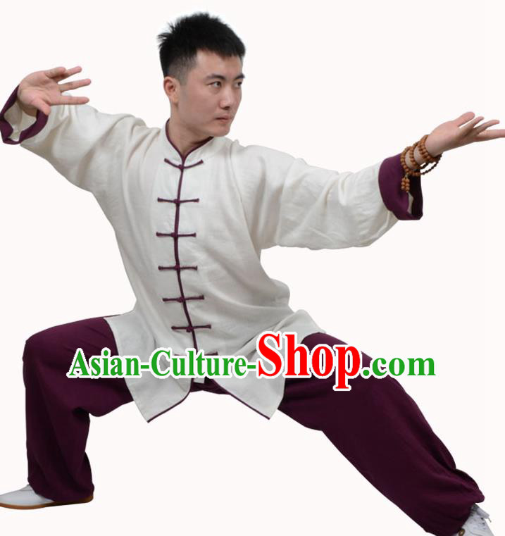 Top Kung Fu Linen Costume Martial Arts Costume Kung Fu Training White Shirt and Purple Pants, Tai Ji Plated Buttons Uniform Gongfu Wushu Clothing for Women for Men