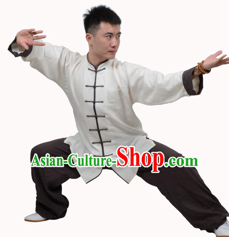 Top Kung Fu Linen Costume Martial Arts Costume Kung Fu Training White Shirt and Brown Pants, Tai Ji Plated Buttons Uniform Gongfu Wushu Clothing for Women for Men