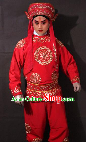 Traditional China Beijing Opera Takefu Embroidered Red Costume, Chinese Peking Opera Soldier Clothing