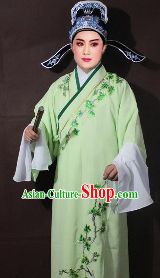 Traditional China Beijing Opera Niche Costume Green Embroidered Robe, Chinese Peking Opera Scholar Embroidery Clothing
