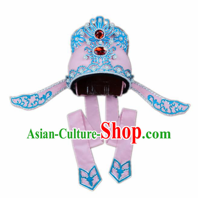 Traditional China Beijing Opera Share-win Scholar Pink Hats, Chinese Peking Opera Niche Headwear