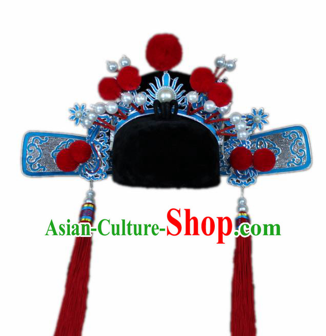 Traditional China Beijing Opera Princess Husband Hats, Chinese Peking Opera General Headwear