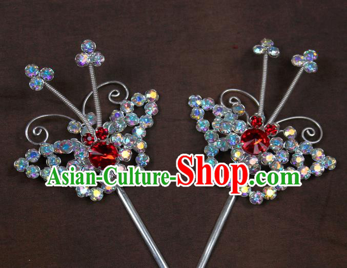 Traditional China Beijing Opera Actress Hair Accessories Crystal Hairpins, Chinese Peking Opera Diva Butterfly Headwear