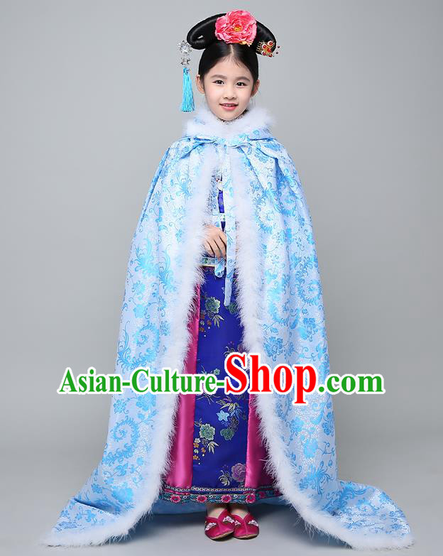 Traditional Ancient Chinese Qing Dynasty Manchu Princess Costume Embroidered Blue Cloak for Kids