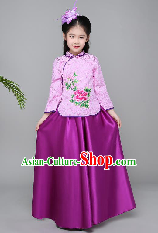 Traditional Chinese Republic of China Children Clothing, China National Embroidered Purple Cheongsam Blouse and Skirt for Kids