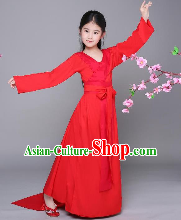 Traditional Chinese Ancient Fairy Hanfu Dress Clothing, China Tang Dynasty Palace Lady Costume for Kids
