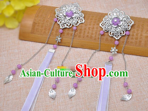 Traditional Chinese Handmade Hair Accessories Princess Hairpins Purple Ribbon Hair Stick for Women