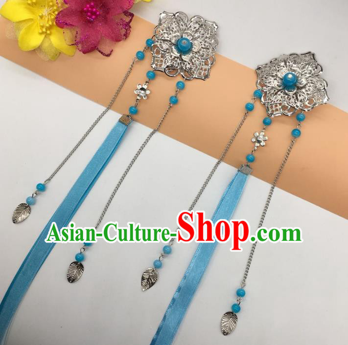 Traditional Chinese Handmade Hair Accessories Princess Hairpins Blue Ribbon Hair Stick for Women