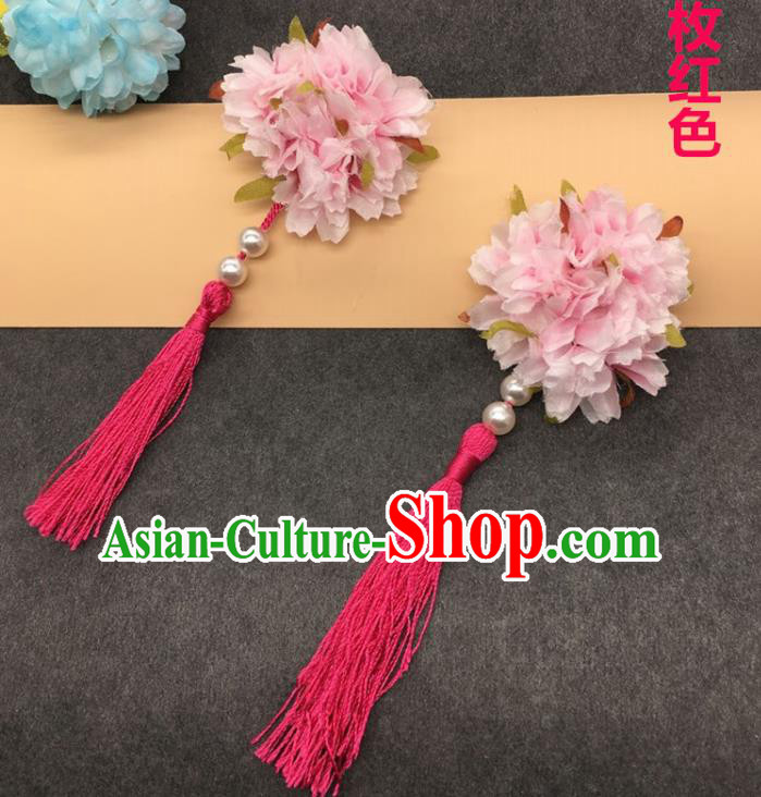 Traditional Chinese Handmade Hair Accessories Hairpins Hanfu Pink Flowers Tassel Hair Claw for Kids