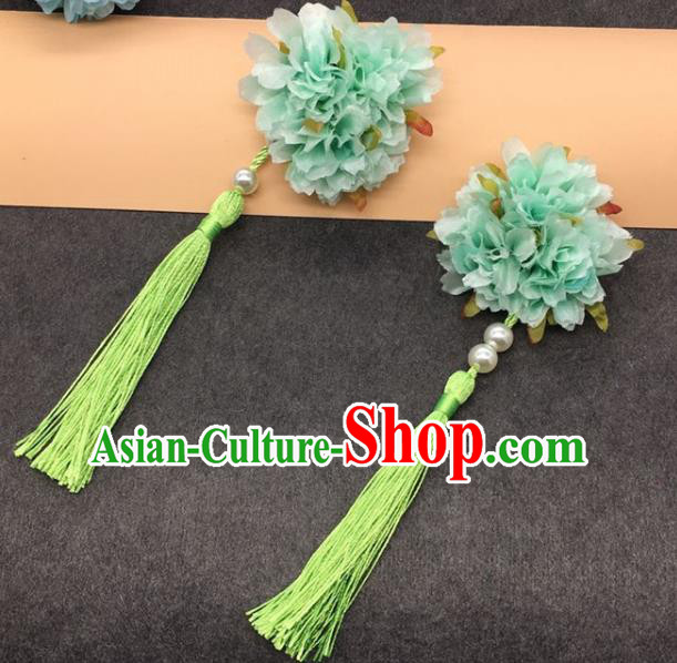 Traditional Chinese Handmade Hair Accessories Hairpins Hanfu Green Flowers Tassel Hair Claw for Kids
