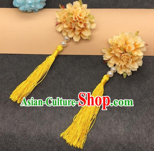 Traditional Chinese Handmade Hair Accessories Hairpins Hanfu Yellow Flowers Tassel Hair Claw for Kids