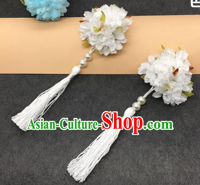 Traditional Chinese Handmade Hair Accessories Hairpins Hanfu White Flowers Tassel Hair Claw for Kids