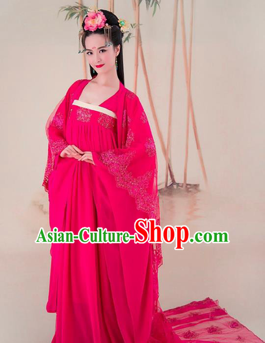 Traditional Chinese Tang Dynasty Princess Consort Costume, China Ancient Palace Lady Hanfu Trailing Dress for Women