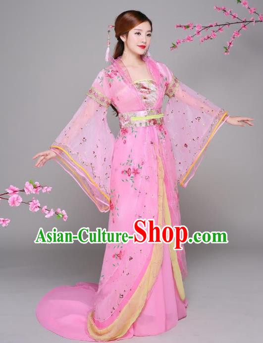 Traditional Chinese Tang Dynasty Princess Fairy Costume, China Ancient Palace Lady Hanfu Embroidered Trailing Dress for Women