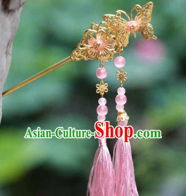 Traditional Chinese Handmade Hair Accessories Hairpins Hanfu Pink Tassel Step Shake for Kids