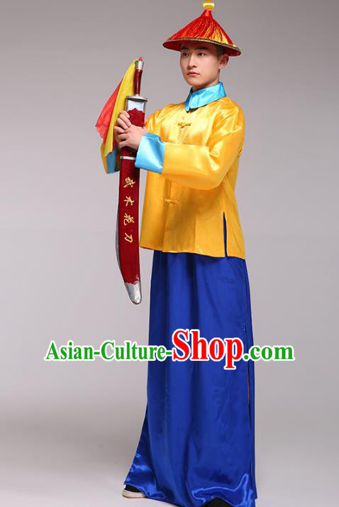 Traditional Chinese Ancient Imperial Bodyguard Clothing, China Qing Dynasty Manchu Soldiers Costume for Men