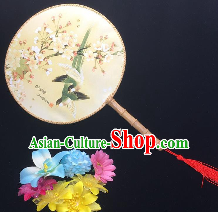 Traditional Chinese Handmade Palace Fans Hanfu Princess Printing Peach Blossom Round Fan for Women