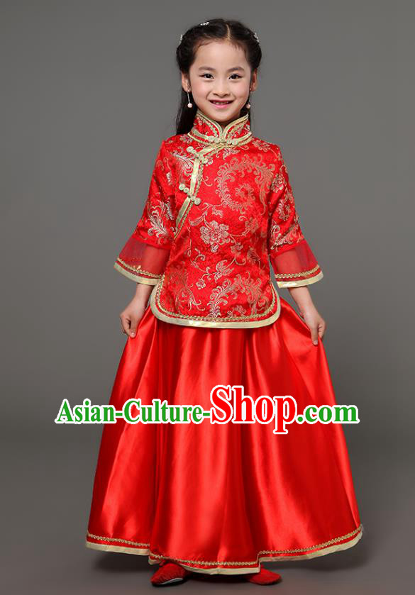 Traditional Chinese Republic of China Children Xiuhe Suit Clothing, China National Embroidered Red Cheongsam Blouse and Skirt for Kids