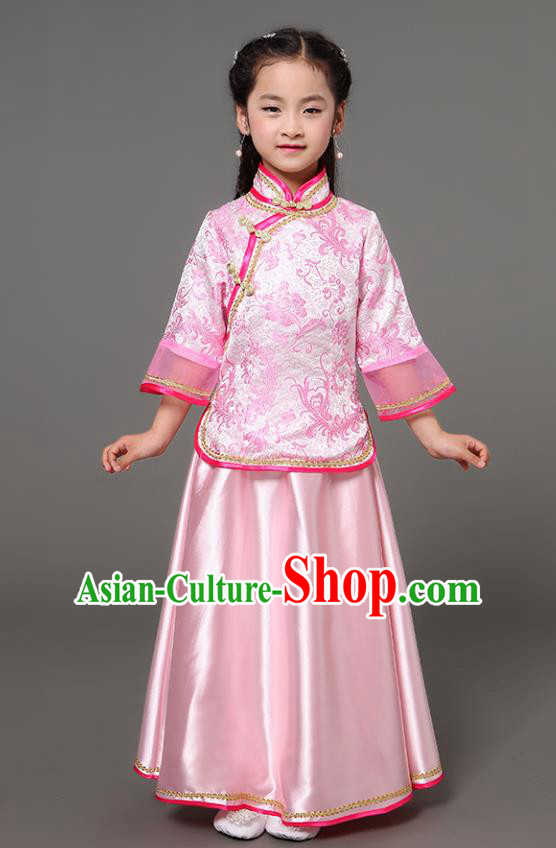Traditional Chinese Republic of China Children Xiuhe Suit Clothing, China National Embroidered Pink Cheongsam Blouse and Skirt for Kids