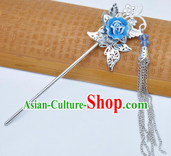 Traditional Chinese Handmade Hair Accessories Princess Hairpins Hanfu Blue Flower Tassel Step Shake for Kids