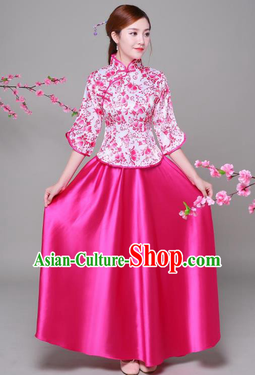 Traditional Chinese Republic of China Children Xiuhe Suit Clothing, China National Embroidered Rosy Blouse and Skirt for Women