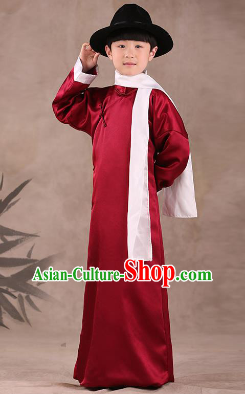 Traditional Chinese Republic of China Costume Children Wine Red Long Gown, China National Comic Dialogue Clothing for Kids