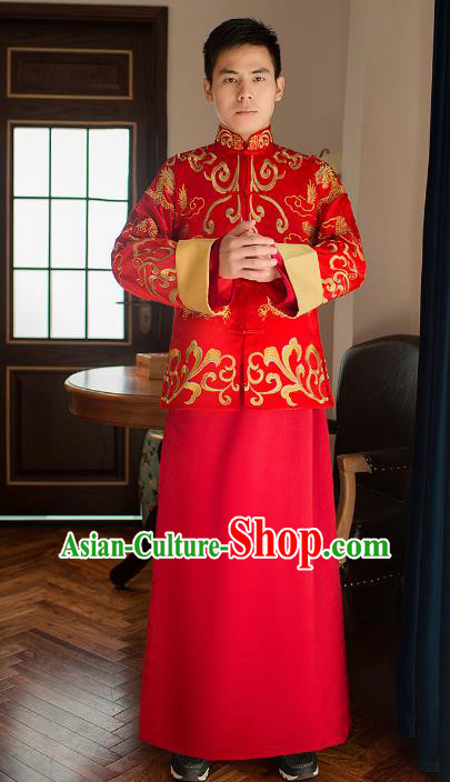 Traditional Chinese Republic of China Wedding Costume Bridegroom Long Gown Tang Suit Clothing for Men