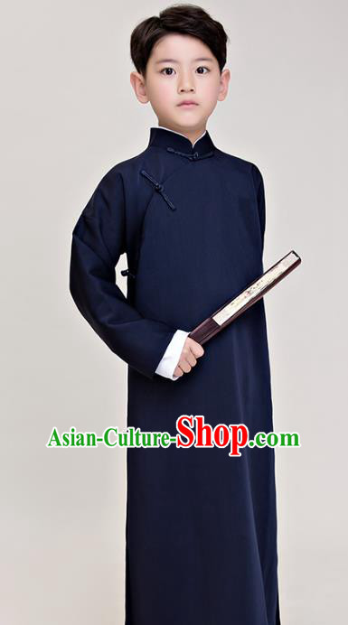 Traditional Chinese Republic of China Costume Navy Long Robe, China National Comic Dialogue Clothing for Kids