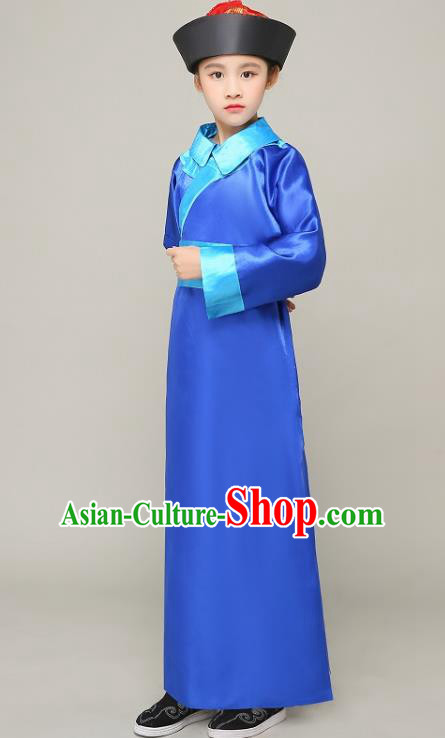 Traditional Chinese Qing Dynasty Court Eunuch Costume, China Manchu Imperial Bodyguard Blue Mandarin Robe for Kids