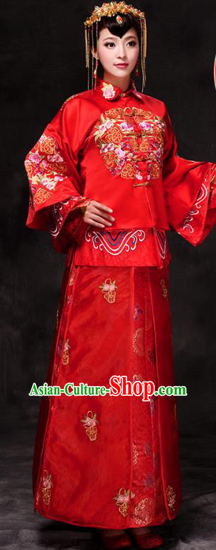 Chinese Traditional Wedding Costume Xiuhe Suits China Ancient Bride Embroidered Clothing for Women