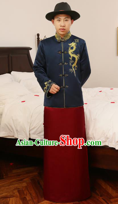Ancient Chinese Qing Dynasty Wedding Costume China Traditional Bridegroom Embroidered Blue Toast Clothing for Men