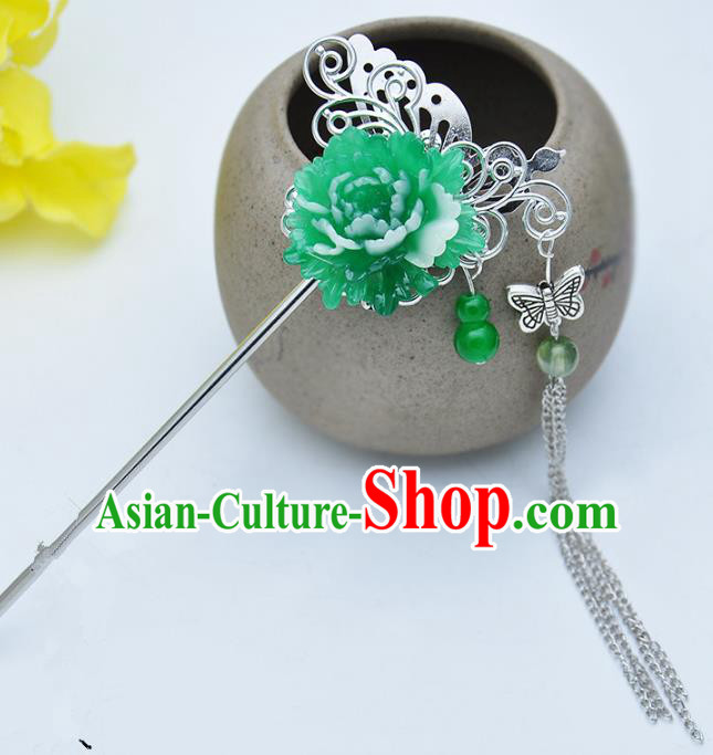 Traditional Handmade Chinese Ancient Classical Hair Accessories Green Flower Hairpins Tassel Step Shake for Kids
