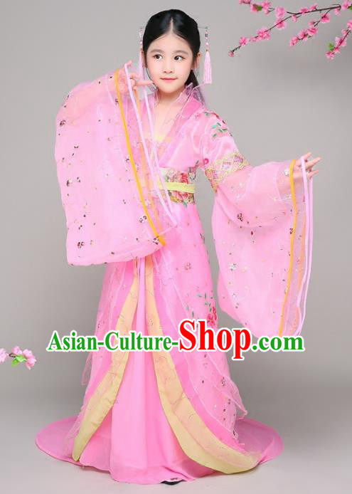 Traditional Chinese Tang Dynasty Children Imperial Concubine Costume, China Ancient Palace Lady Hanfu Embroidered Clothing for Kids