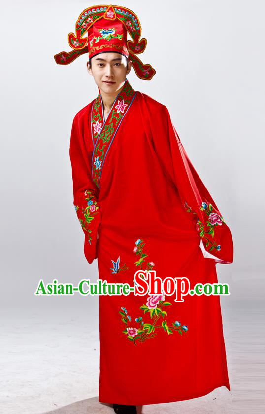 Traditional China Beijing Opera Costume Gifted Scholar Red Embroidered Robe, Chinese Peking Opera Niche Embroidery Clothing