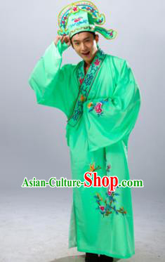 Traditional China Beijing Opera Costume Gifted Scholar Light Green Embroidered Robe, Chinese Peking Opera Niche Embroidery Clothing