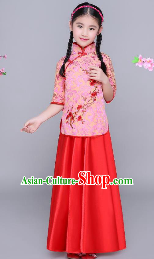 Traditional Chinese Republic of China Children Clothing, China National Embroidered Wintersweet Red Blouse and Skirt for Kids