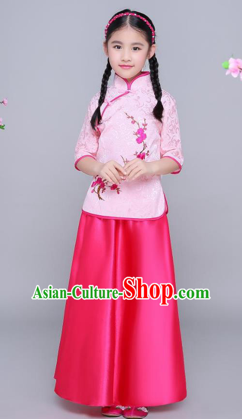 Traditional Chinese Republic of China Children Clothing, China National Embroidered Wintersweet Pink Blouse and Skirt for Kids