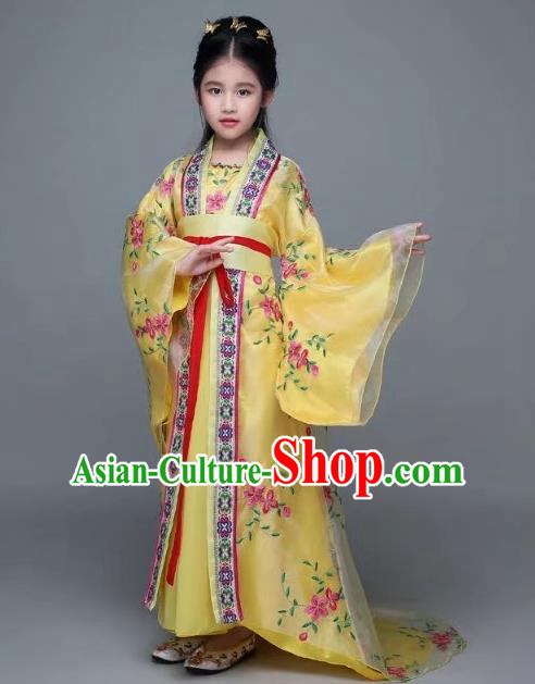 Traditional Chinese Tang Dynasty Palace Lady Yellow Costume, China Ancient Imperial Concubine Hanfu Trailing Dress for Kids