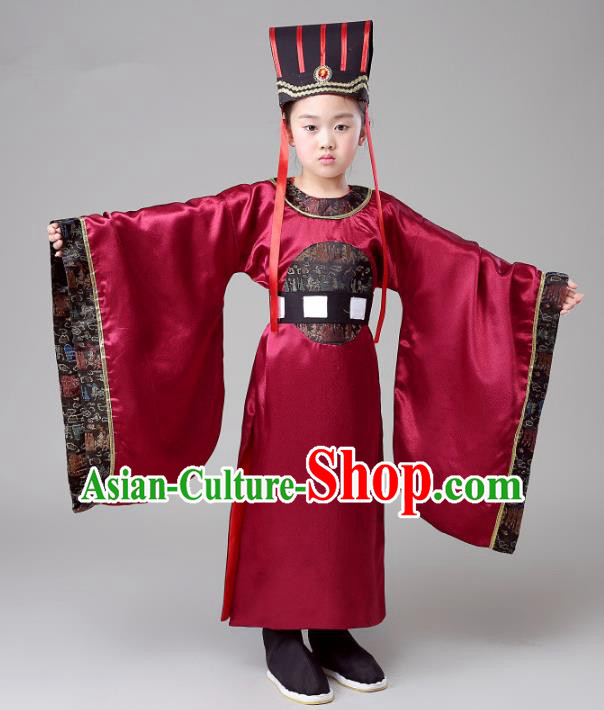 Traditional Chinese Han Dynasty Minister Costume, China Ancient Chancellor Embroidered Clothing for Kids