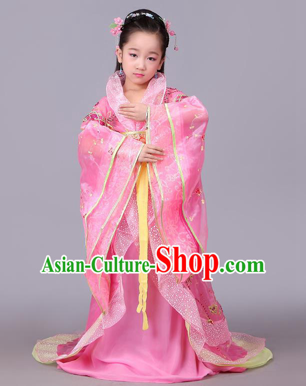 Traditional Chinese Tang Dynasty Palace Lady Pink Costume, China Ancient Imperial Consort Embroidered Hanfu Clothing for Kids