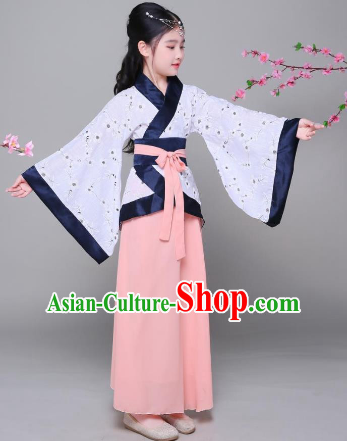 Traditional Chinese Han Dynasty Children Costume, China Ancient Princess Hanfu Curving-front Robe for Kids