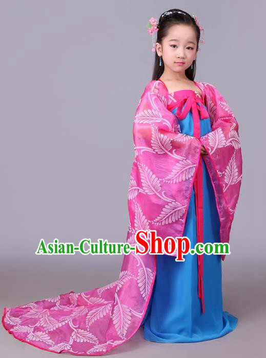 Traditional Chinese Tang Dynasty Children Costume, China Ancient Princess Hanfu Trailing Dress for Kids