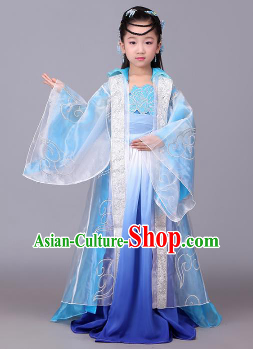 Traditional Chinese Tang Dynasty Palace Lady Costume, China Ancient Princess Hanfu Dress for Kids